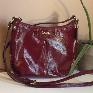 COACH maroon leather crossbody bag